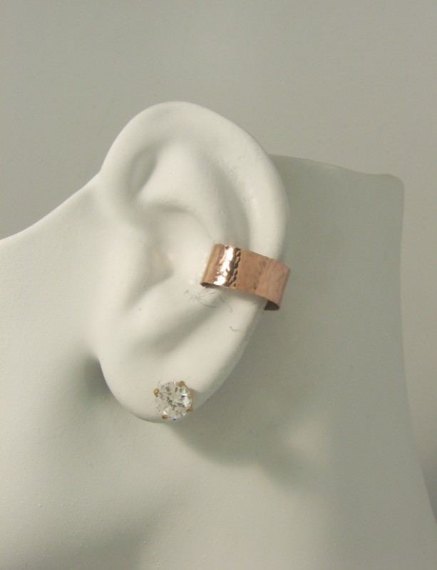 Post Conch Pierced Cartilage Earring Rose Gold Body Piercing Hoop Jewelry Hammered Ear Cuff