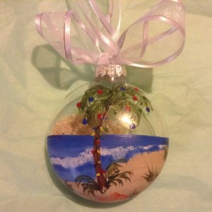 Ornament, glass, Beach scene, palm tree