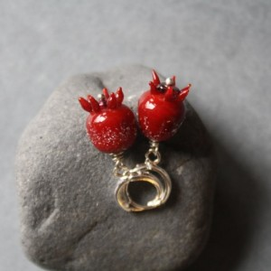Glass Pomegranate Earrings - Red Color