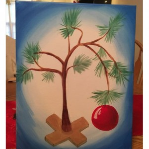 Charlie Brown Christmas Tree Acrylic Painting