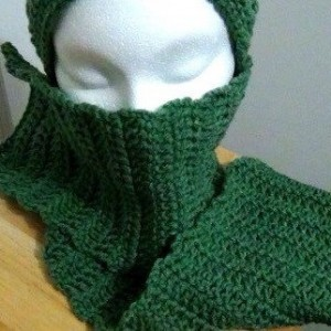 Scarf - Crocheted Scarf - Light Sage Green Handmade Scarf - Winter Neck Wear Accessory from Maine