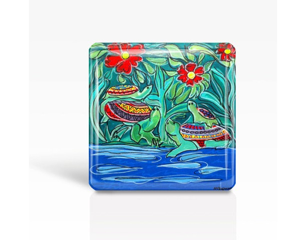 "Mexican Folk Art- TURTLES - Glass MAGNET By Artist A.V.Apostle- 2""x 2"""