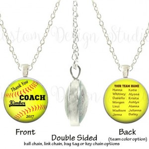 Personalized Softball Coach Trophy Team Glass Thank you Double Sided Photo Necklace or Key Chain Team Awards Coach Gift Recognition Coach