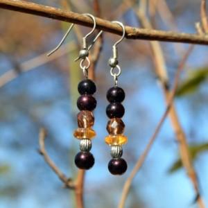 Bronze and Yellow Earrings