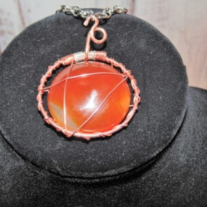 Wire Wrapped Pendant, Natural Copper and Sterling Silver with Orange/Brown Agate