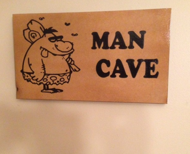 Man Cave Wood MDF Sign with Caveman Picture