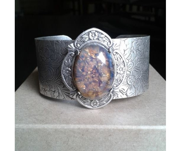 Topaz Glass Opal Antiqued Silver Cuff Bracelet