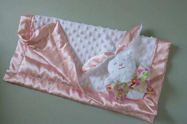 Bunny Security Blanket Lovey Blanket Satin Baby Blanket