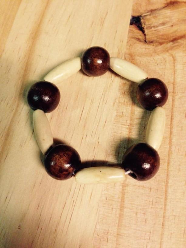 African inspired wood beaded bracelet