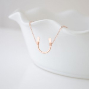 Rose gold Hand Hammered Lucky Horseshoe Necklace
