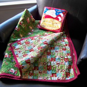 44 x 60 Handmade Santa Reindeer Snowman Christmas Holidays Presents Bows Jingle Sled Star Tree Quilt with Soft Night Before Christmas Book