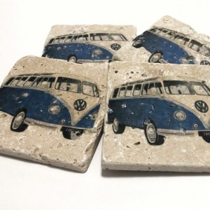 Blue VW Bus, Natural Stone Coasters, Set of 4, Full Cork Bottom, Volkswagen Bus, Vintage Bus, Rustic Decor, Travertine