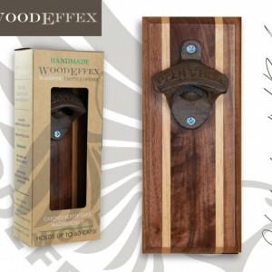Bottle Opener Magnetic Cap Catcher - Handcrafted Walnut Wood with Alder Inlay with Antique Bronze Opener