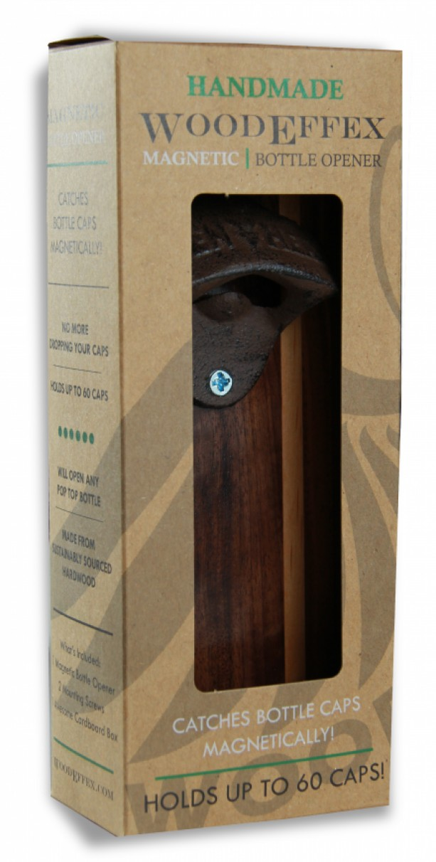bottle opener magnetic cap catcher handcrafted walnut wood with alder inlay with antique bronze opener - Magnetic Bottle Opener