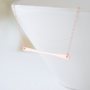 Rose Gold Hammered Long Bar Necklace