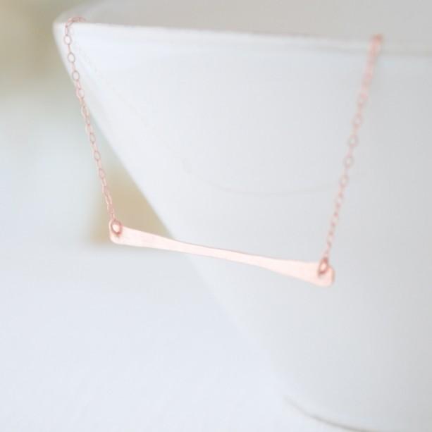 Rose Gold Hammered Long Bar Necklace