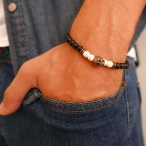Men's Bracelet - Men's Beaded Bracelet - Men's Skull Bracelet - Men's Jewelry - Men's Gift - Boyfriend Gift - Husband Gift - Present For Men
