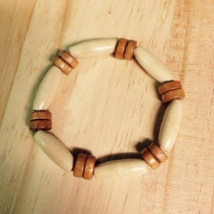 African inspired wood beaded bracelet