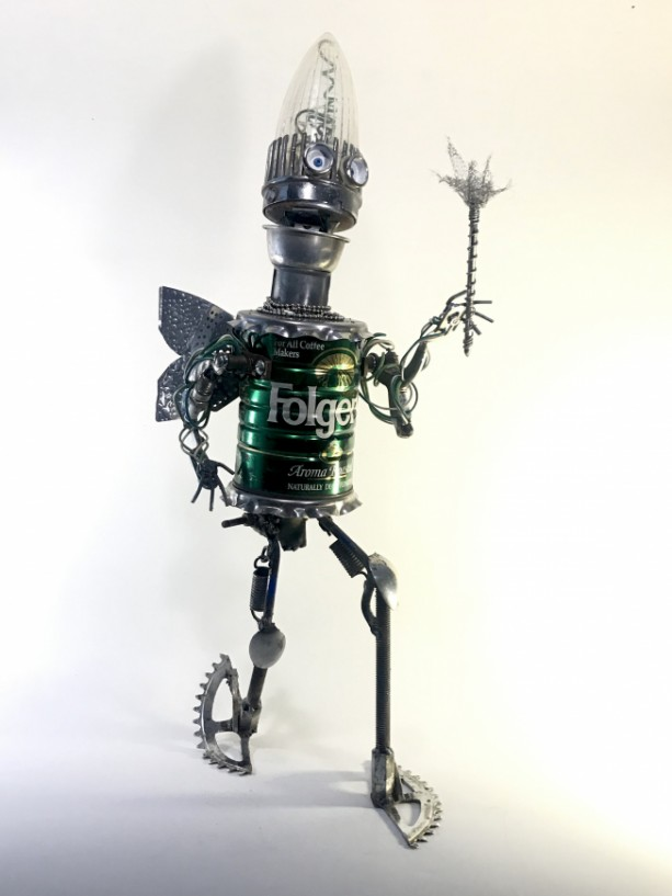 """Found Object Robot """"the Fairy of Decaffenation"""" Assemblage Scuplture"""