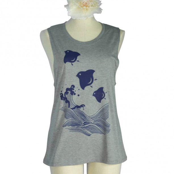 Heather Grey Japanese Chidori Birds Screen Printed Bamboo Muscle Shirt