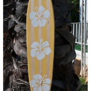 Yellow - Hibiscus - Hanging Wall Surf Board Sign - Beach Decor
