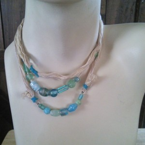 Yeah Beach Adjustable Layered Textile Beaded Choker