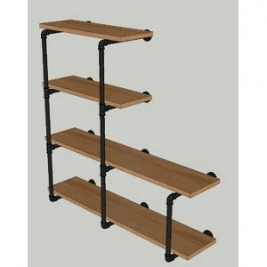 "Industrial Black Pipe Shelving Wall Unit, 42"" tall x 10""  deep, 4 Shelves ""DIY"" Parts Kit"