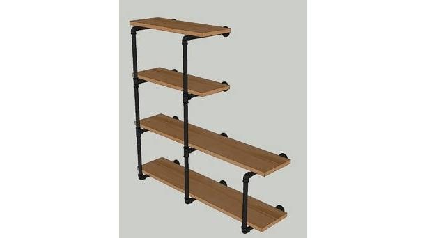 "Industrial Black Pipe Shelving Wall Unit, 42"" tall x 10""  deep, 4 Shelves ""DIY"" Parts Kit"