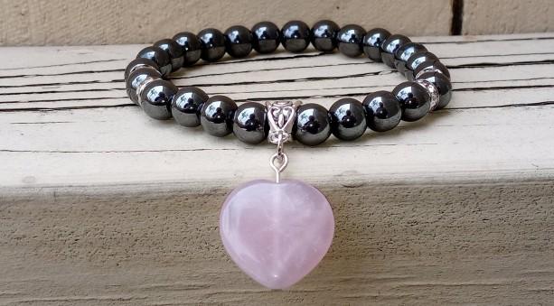 Hematite Chakra Bracelet with Rose Quartz Heart Charm For Balance and Love