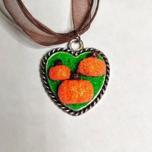 Polymer Clay Glitter Pumpkin Necklace OOAK