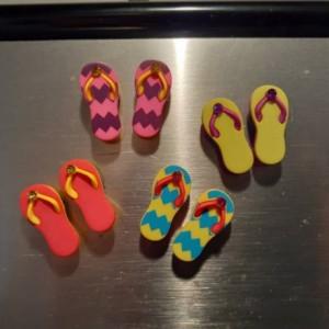 Magnets, 8 Strong Refrigerator Magnets, Cubicle Decor, Locker Magnets, Office Supply,Sandles,Beach,Summer,Flip Flop
