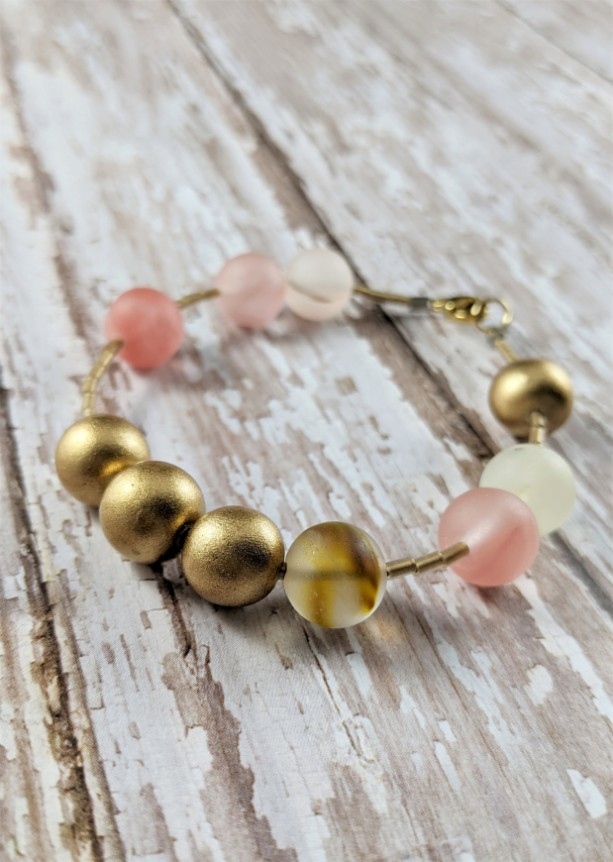 The Antoinette | handmade matte cherry quartz bracelet, gold wood beads, frosted gold, Gifts for Her