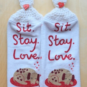 Puppy Love Crochet Kitchen Towel