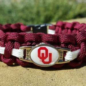 Oklahoma Sooners Paracord Bracelet NCCA Officially Licensed Charm