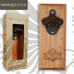 Bottle Opener Magnetic Cap Catcher - Handcrafted Alder Wood with Antique Bronze Opener - Personalized Family Name