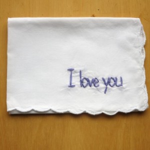 Embroidered I Love You Handkerchief by wrenbirdarts
