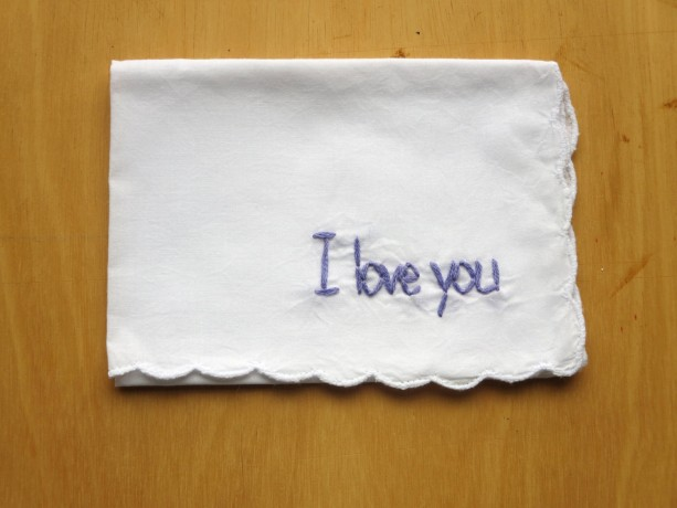 Embroidered I Love You Handkerchief by wrenbirdarts Embroidered I Love You  Handkerchief by wrenbirdarts ...