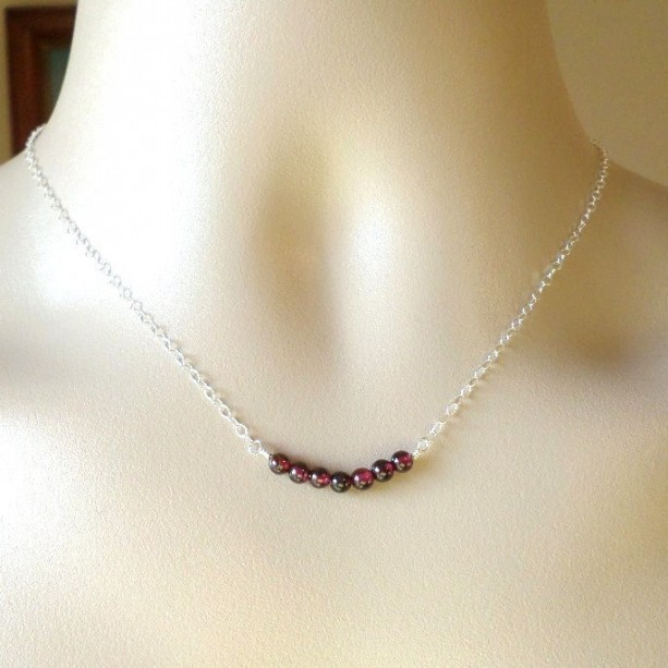 Silver Garnet Necklace - January Birthstone Jewelry  - Tiny Sterling Silver Curved Bar Gemstone Necklace - Gemstone Necklace - Mothers Day