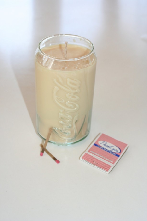Root Beer Scented Coke Can Glass 12 oz Cream Soy Wax Candle
