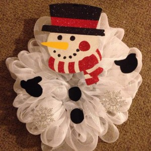 Red Snowman Deco Mesh Wreath