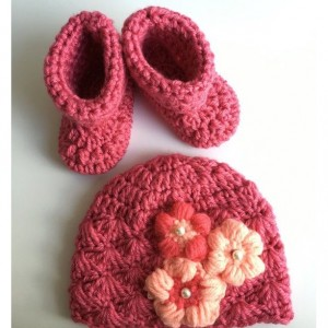 Crocheted booties and hat set
