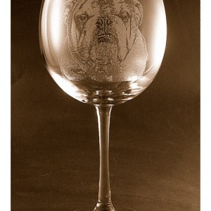 Etched Bulldog on Elegant Wine Glass (set of 2)