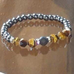 Hematite and  Tiger Eye Grounding Energy and Balance Bracelet | Embrace Positive Vibes | Calming & Healing Gemstone Chakra Stretch Bracelet