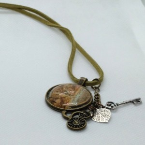 Antique Victorian Style Stamp Cabochon Necklace with Charms on Green Leather Cord