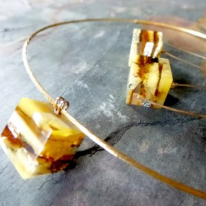 Modern Baltic Amber Necklace , Sterling Silver Necklace , Gold Necklace .