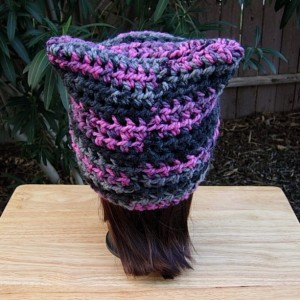 Raspberry Pink, Gray, Black Striped Pussy Cat Hat, PussyHat, Soft 100% Acrylic Handmade Crochet Knit Winter Beanie, Protest March Women's Rights Nasty Woman, Ready to Ship in 2 Days