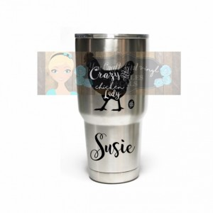 Crazy Chicken Lady Personalized Etched or Decal Stainless Steel Tumbler - Crazy Chicken Lady Mug - Gift Mug - Chicken Math - Farm Wife Gift