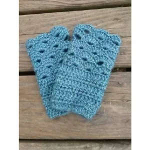 Womens Crocheted Blue Lace Fingerless Mitts