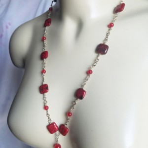 Womens Handmade Sterling Silver Link Necklace Red Azurite Chrysocolla Rubys