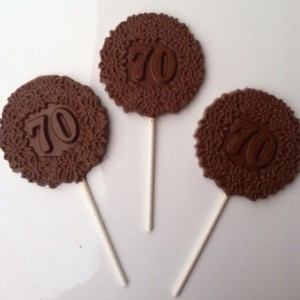 12 70th Birthday Anniversary Chocolate Pops